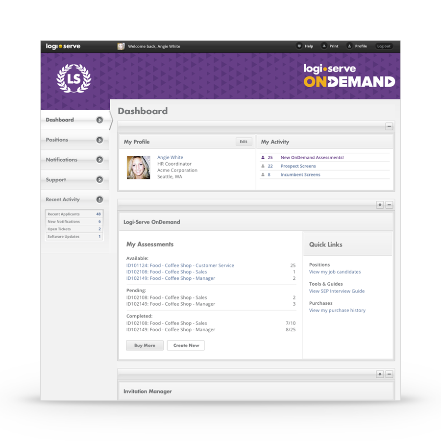 The Logi-Serve OnDemand System Dashboard Houses Your Employment Assessment Test Software System